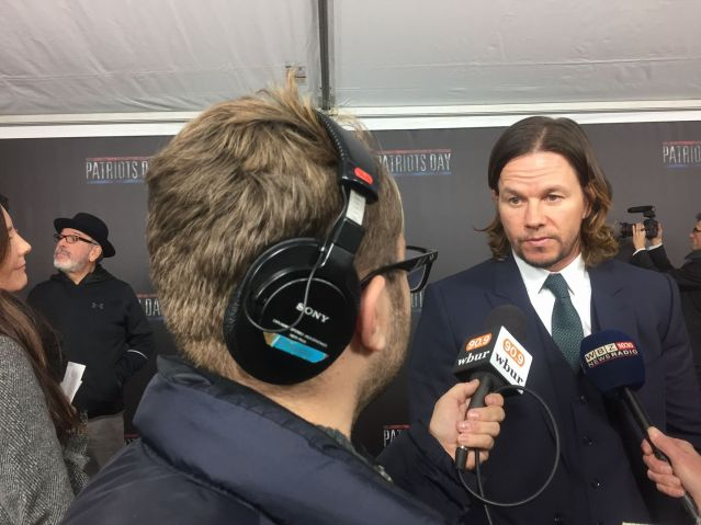 "Interviewing Mark Wahlberg about his movie ""Patriots Day."" December 2016. (Photo courtesy Bruce Gellerman)"