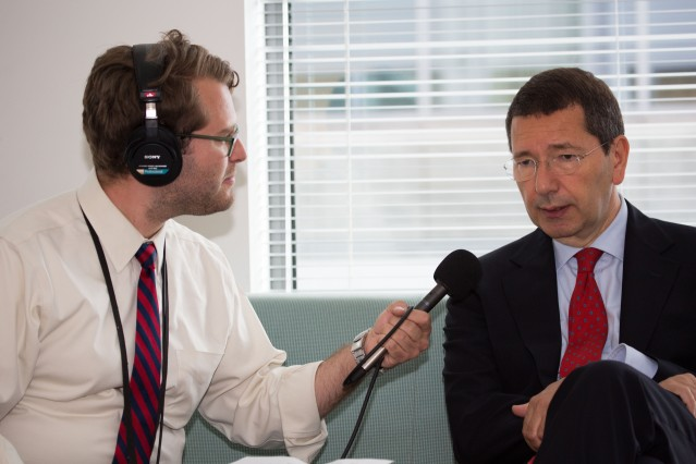 Interviewing the mayor of Rome, Ignazio Marino, for WBUR's Radio Boston. May, 2014. (Photo courtesy of Steve Snyder)
